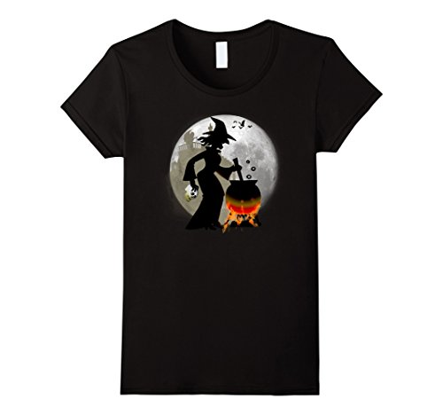 Woman Gargoyle Costume (Womens Funny Spooky and Scary Witch Halloween Party T-shirt Medium Black)