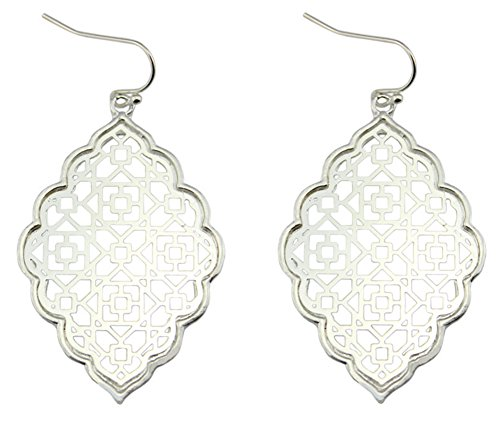 StylesILove Womens Trendy Two-Tone Cut Off Filigree Quatrefoil Long Chain Pendant Necklace Dangle Earring ()