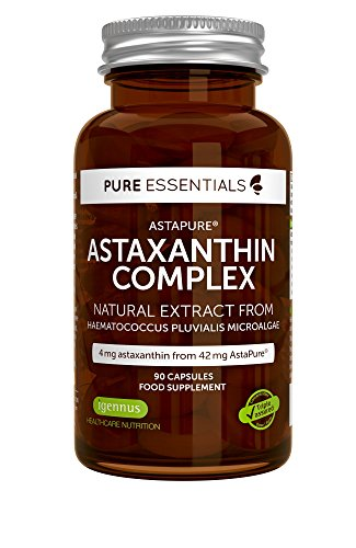 Pure Essentials Natural Astaxanthin Complex, 42 mg AstaPure Delivering 4mg astaxanthin, with Lutein & zeaxanthin, 90 Capsules by Igennus Healthcare Nutrition