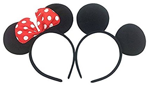 Perfec Mickey Mouse Ears Solid Black and Bow Minnie Headband For Boys and Girls Birthday Party Mom Baby Hairs Accessories Girl Headwear Party Decoration Baby Shower Halloween Set Of (Mickey Mouse Halloween Birthday Party)