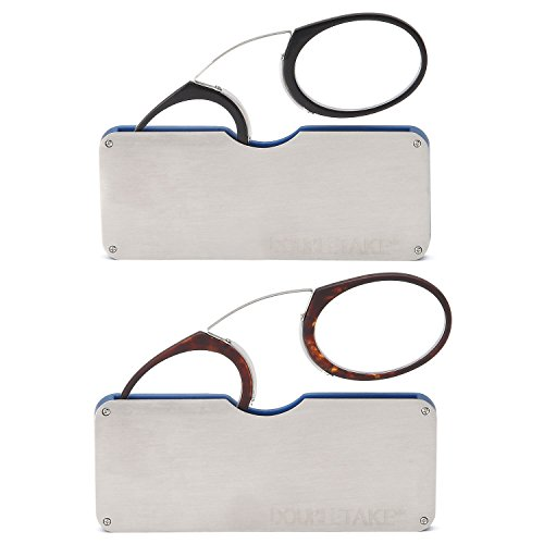 DoubleTake 2 Pairs of Pince Nez Style Nose Resting Pinching Portable Reading Glasses with No Temple Arms Readers for Men and Women