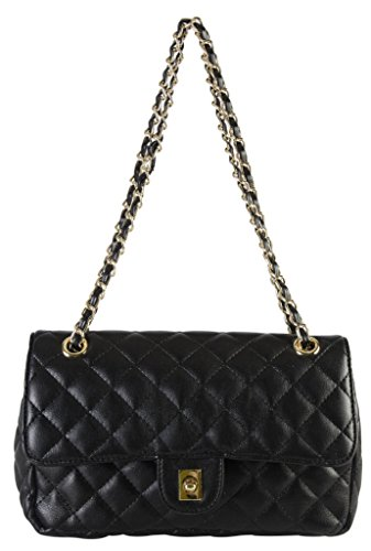 (Diophy PU Leather Quilted Pattern Turn Lock Flap Medium Womens Chain Strap Purse Handbag with Matching Wallet CH-3101)