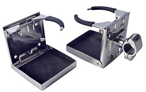 Amarine-made 1 PCS Stainless Steel Rail Mounted Adjustable Folding Drink Holders Marine/boat/caravan/car for 1