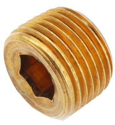 Anderson Metals 756115-06 Pipe Fitting, Countersink Plug, Lead-Free Brass, 3/8-In. - Quantity 10