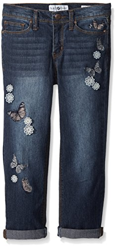 Black Daisy Big Girls' Tween Best Friend Relaxed Skinny Jean, Rinse Butterfly Embroidery, 16 by Black Daisy
