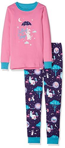 Hatley Girls' Little Organic Cotton Long Sleeve Appliqué Pajama Sets, Falling to Sleep, 6 Years