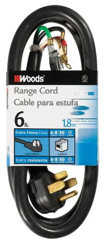 (Woods 0762 6/2 8/2 SRDT 50-Amp Range and Dryer Appliance Cord, Black, 6-Feet)