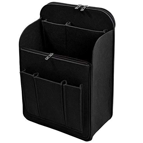 VANCORE Felt Backpack Insert Organizer for Kanken, Rucksack Shoulder Bag Organizer Zipper A4 A5 B5 Pockets for Laptops, Ipads, Files, Notebooks (Black S)