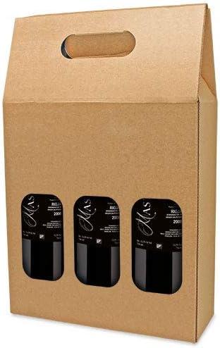 DISOK Lote de 25 Cajas de Cartón con Ventana para 3 Botellas. Estuches de Vino Caja Vino para Bodas, Bautizo, comuniones. No Incluye Botellas.: Amazon.es: Hogar