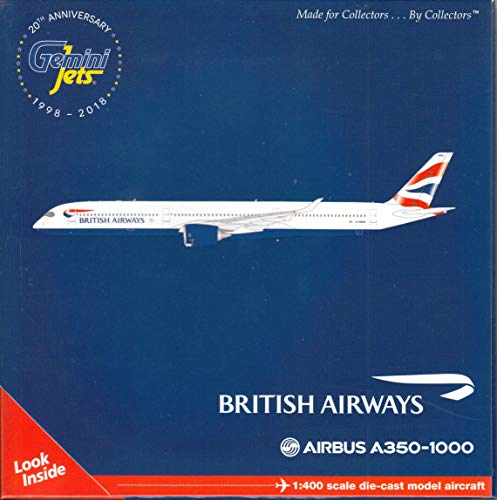 GeminiJets GJBAW1759 British Airways A350-100 G-XWBA / GEMGJ1759 1:400 Gemini Jets British Airways Airbus A350-1000 Reg #G-XWBA (pre-Painted/pre-Built)