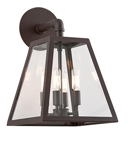 Troy Lighting Amherst 4-Light Outdoor Wall Light - River Valley Rust Finish with Clear - Outdoor Amherst Wall