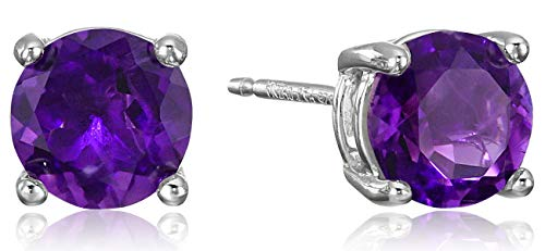 (Amazon Essentials Sterling Silver Round African Amethyst Birthstone Stud Earrings (February) )