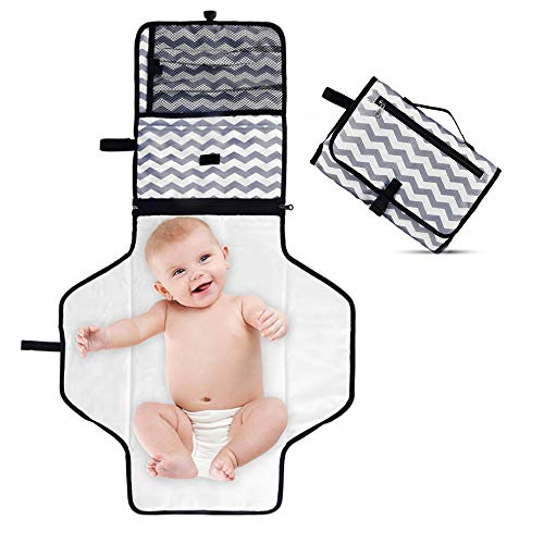 Portable Diaper Changing Pad,Waterproof Diaper Changing Station,Wipeable Baby Mat,Travel Changer Station Kit for Baby, Folding Diaper Pad Clutch,Diaper Pouch,Diaper Bag (Gray)