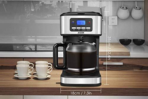 Macchina Caffe Aicok, Macchina caffe Americano 1000Watt, CaffettieraAmericana Digitale Automatica con Timer e Display 1.8L, Filtri Caffe Americano per Tè e Caffe, Acciaio Inox 2