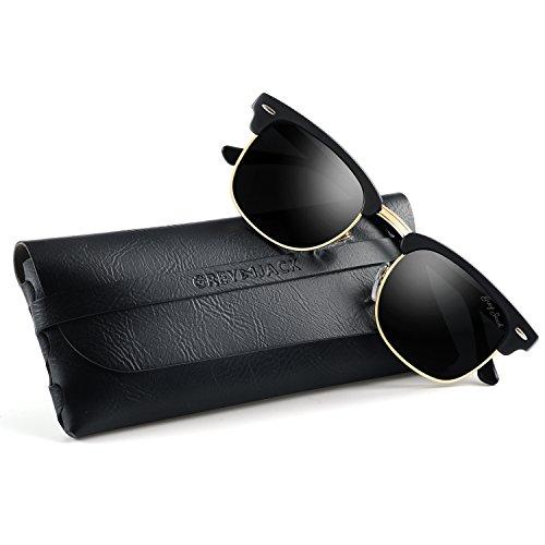GREY JACK Classic Polarized Clubmaster Half Frame Mirrored Sunglasses Fashion Eyeglasses for Men Women Matte Black Frame Black - Clubmaster Black Matte