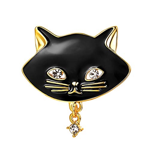 FOCALOOK Christmas Lovely Black Gold Elegant Safety Enamel Cat Brooch Pins for Women with Drop Rhinestone
