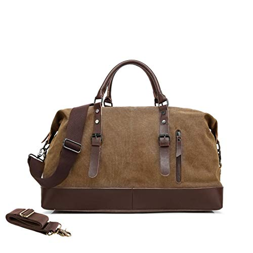 MEWAY Leather Canvas Duffle Bag Weekend Overnight Bag Travel Tote Duffel Luggage with Strap (HANDBAG, COFFEE)