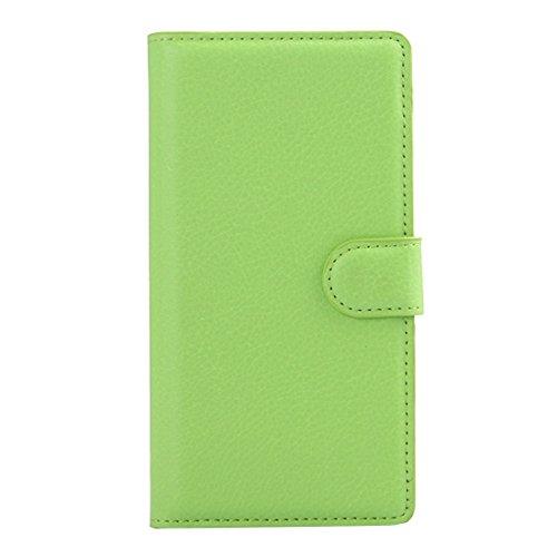 Beautiful & practical Para Sony Xperia Z3 / L55U / L55T Litchi Textura horizontal Flip caja de cuero con el titular y ranuras para tarjetas y cartera ( Color : White ) Green