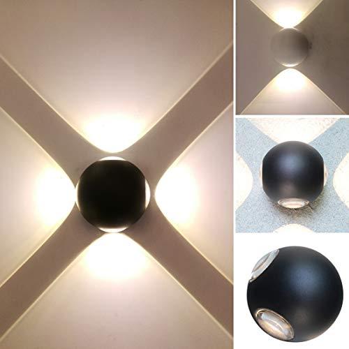 Alotm Outdoor LED Wall Lamp, Modern Aluminum Waterproof Wall Light Fixtures Wall Sconce Lighting Four Head Wall Mount Spotlight for Courtyard Garden Porch Corridor (Warm White -3000k)