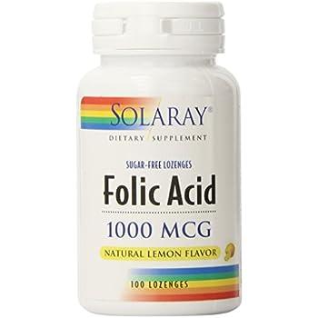 Solaray Folic Acid Lozenges, 1000mg, 100 Count