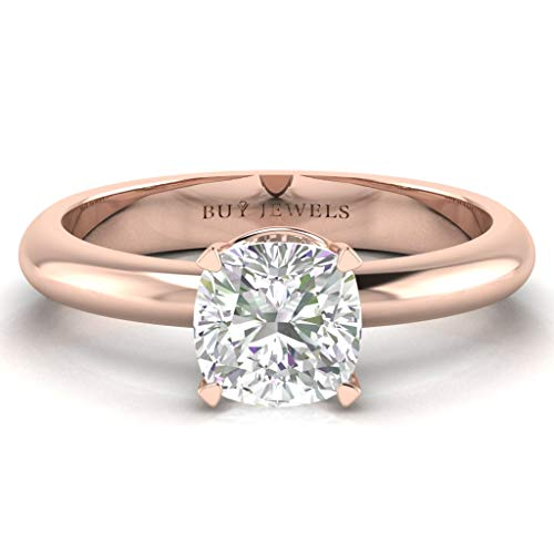 14k Gold Certified Square Cushion Solitaire Moissanite 6mm 1ct DEW Big Engagement Ring G-H Color VVS1