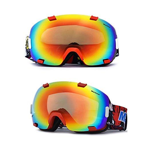 SE7VEN Lunettes De Neige Multicolore,Lentille Double Couche Anti-buée Panoramique Snowboard Goggle Otg Adulte Snocross Motoneige Escalade rouge