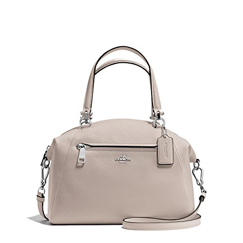 Coach Prairie Satchel In Pebble Leather Silver/Grey Birch. Style 34340 SVC2J by Coach