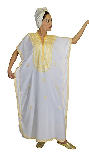 4dedb2b02ddf5c Moroccan Caftan Hand Made Top Quality Breathable Cotton with Gold Hand  Embroidery Long Length White