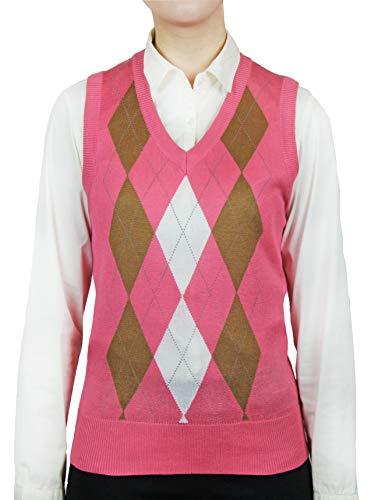 Blue Ocean Ladies Golf Argyle Sweater Vest-Large
