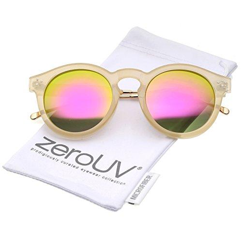 zeroUV - Metal Temple Keyhole Bridge Colored Mirror Lens P3 Round Sunglasses 50mm (Nude-Gold / Pink - Nude Metal Black