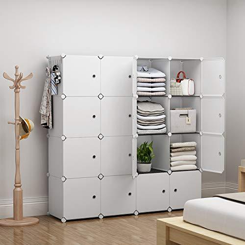 YOZO Modular Closet Portable Wardrobe for Teens Kids Chest Drawer Ployresin Clothes Storage Organizer Cube Shelving Unit Multifunction Toy Cabinet Bookshelf DIY Furniture, White, 16 -