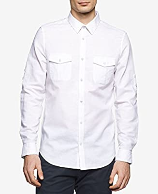 Calvin Klein Men's Marquis Dual-Pocket Linen-Blend Shirt