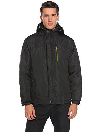 COORUN Men's Winter Thicken Cotton Coat Lightweight Zippered Windbreaker Jacket, Black, XX-Large (Zippered Windbreaker)