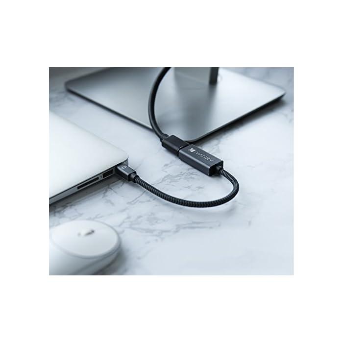 41eub5k0drL Haz clic aquí para comprobar si este producto es compatible con tu modelo Disfrute de una pantalla más grande - el adaptador de iVANKY Mini DisplayPort a HDMI es compatible con portátiles con Mini DP (Thunderbolt 2). Disfrute de sus fotos de vacaciones y películas favoritas o dé una presentación brillante en la gran pantalla. Durabilidad extrema – 15.000 + Flex Life, revestimiento de nailon de alta calidad que ofrece protección adicional, y el perfil ergonómico para fácil de colocar y tirar le ofrece una experiencia perfecta con su equipo.