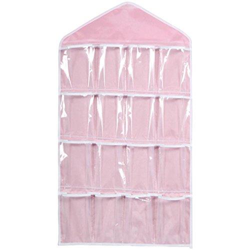 Wall Hanging Storage Bag,IEason 16Pockets Clear Hanging Bag Socks Bra Underwear Rack Hanger Storage Organizer (Pink)