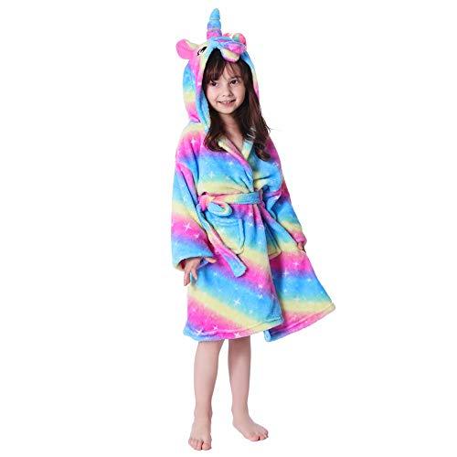 UsHigh Kids Unicorn Robe Girls Soft Plush Bathrobe Novelty Hooded Nightgown Gift (Rainbow Galaxy Unicorn, 5 Year) ()