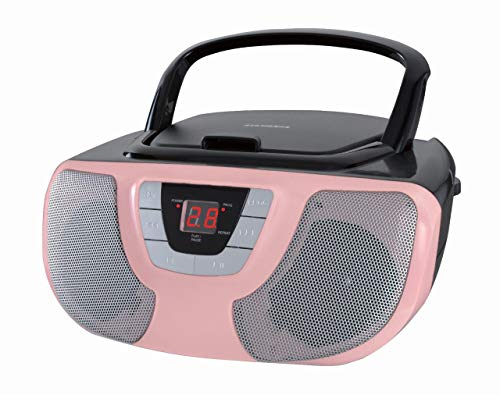 - Sylvania SRCD243 Portable CD Player with AM/FM Radio, Boombox (Pink)