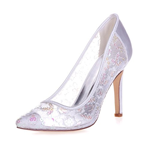 Clearbridal Women's Paillette Grenadine Wedding Prom Party Shoes ZXF0608-25 White