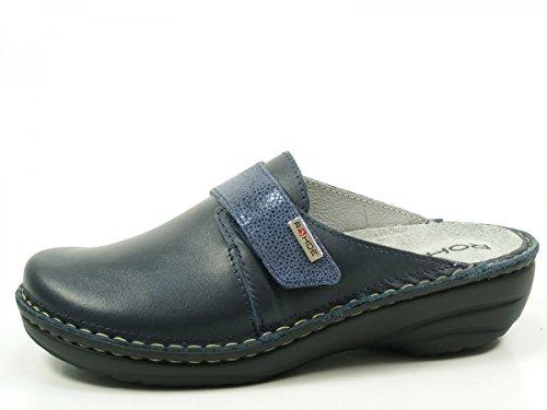 Rohde Damen-Pantolette, Softnappa, ocean, Weite G 6175-56 Blau