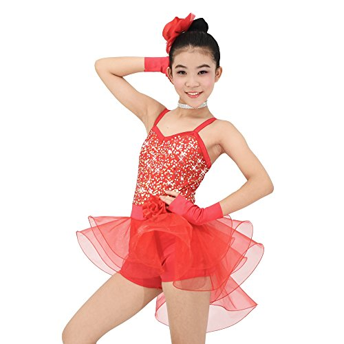 MiDee Girls Camisole Sequin Dance Costume Ballet Biketard Dress (IC, Red) (Cheap Dance Costumes)