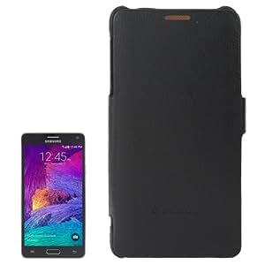 Texture Lichis Horizontal con Solapa Genuine Leather Case Cover Fashion Funda con Logo Para Samsung Galaxy Note 4/N910 (Black)