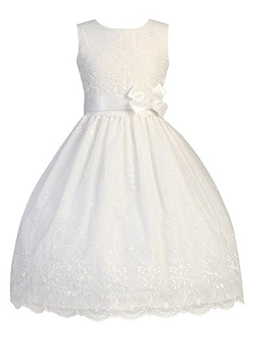 White Embroidered Organza Dress - White Embroidered Organza Communion Dress with Ribbon (8)