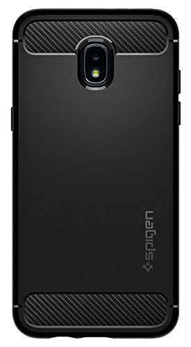 Spigen Rugged Armor Galaxy J3 Case, Galaxy J3 Eclipse 2,Galaxy J3 Orbit, Galaxy J3 2018 case with Flexible and Durable Shock Absorption with Carbon Fiber Design for Samsung Galaxy J3 (2018) - Black by Spigen (Image #1)