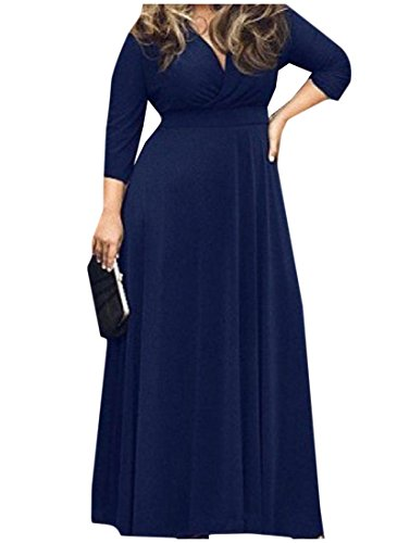 Full Navy Coolred Length Women's Plus Solid Colored size Classics Blue Dress qYaYfwzx