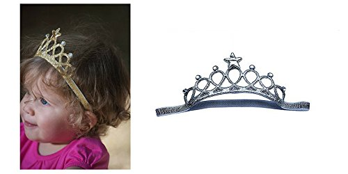 Baby Toddler Tiara Crown Headbands Gold and Silver 2 Pack