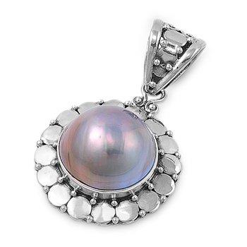 Joyara - Collier Femme Argent Fin 925/1000 Mabe Perle (Vient avec une chaîne de 45 CM)