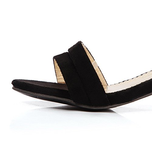 Black Sandals WeenFashion Heels Toe Open Women's Solid Kitten Frosted Buckle zAwgv7nqAx