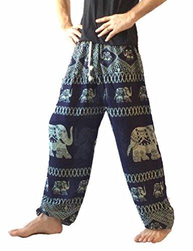 Love Quality Men's Baggy Printed Harem Pants (Thai Navy) ()