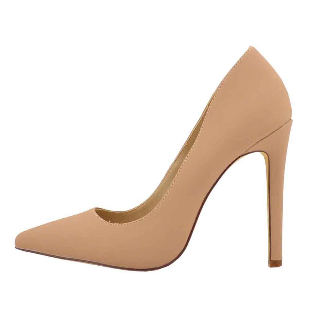 OJ Women's Office Pointy Toe High Heel Stiletto Pump Shoes for Party, Wedding (9, Nude)