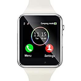 Amazqi Smart Watch, Smartwatch Phone with SD Card Pedometer Call Text Notification SIM Card Slot Music Player Camera…